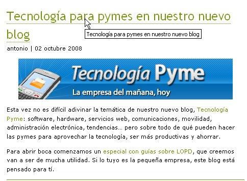 Tecnologiapyme, nuevo blog para pymes